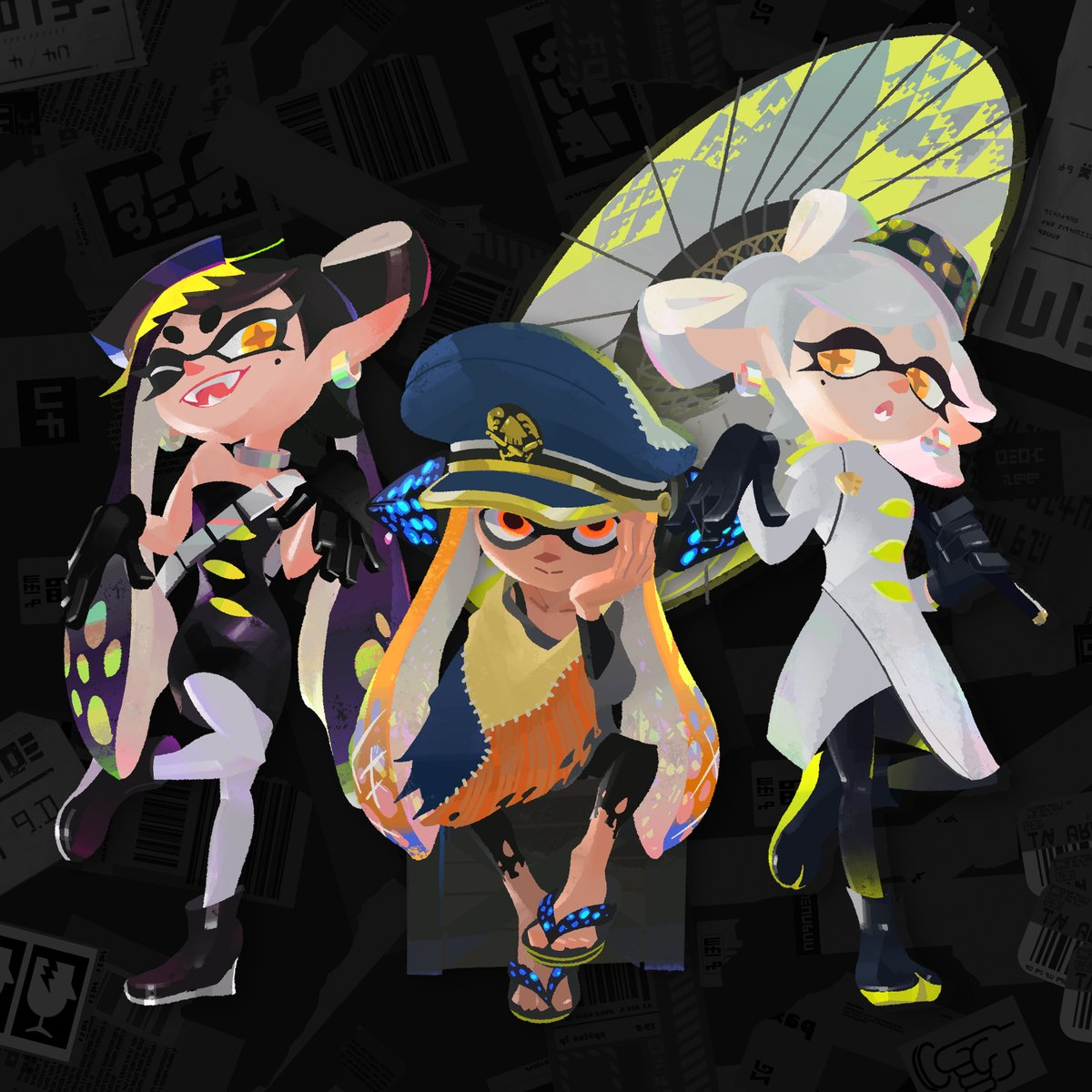 This is the New Squidbeak Splatoon who work together undercover to defeat the evil Octarian Army. On the left is Agent 1, on the right is Agent 2, and in the middle is their captain. Their true identities are a secret, and they'll do whatever it takes to support the new Agent 3. https://t.co/C5BucVmq8u