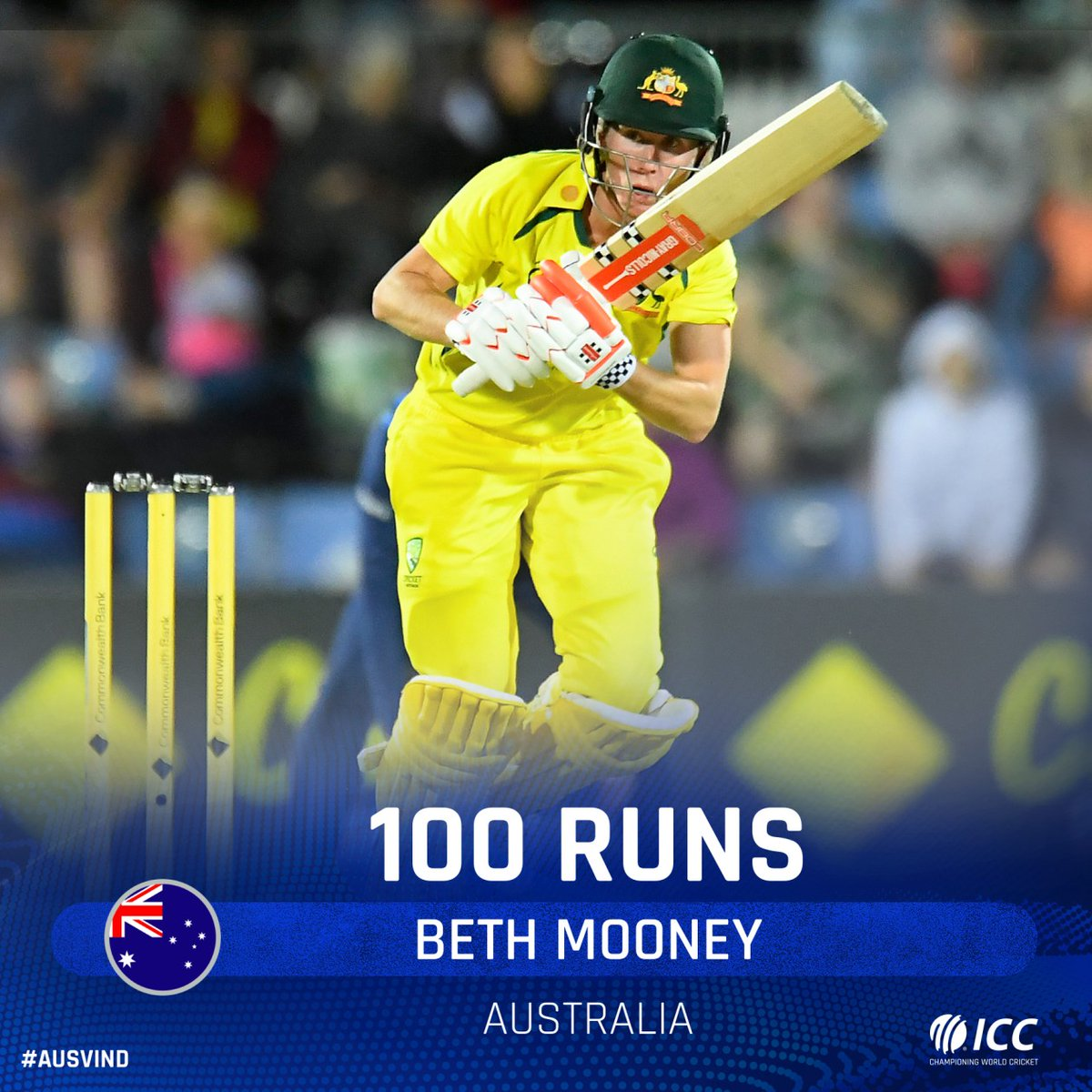 Second ODI hundred for Beth Mooney and what a time to bring it up!  Can she finish it off for Australia?  📺 Watch the action on https://t.co/CPDKNx77KV (select regions) 🧮 Follow live: https://t.co/PWbQVjuCNo   #AUSvIND https://t.co/7IZhvQfsBC