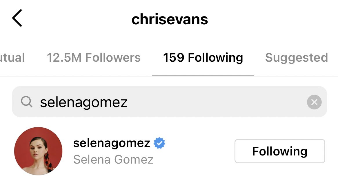 RT @GomezSource: Chris Evans started following Selena Gomez on Instagram https://t.co/44NBGsE7fp