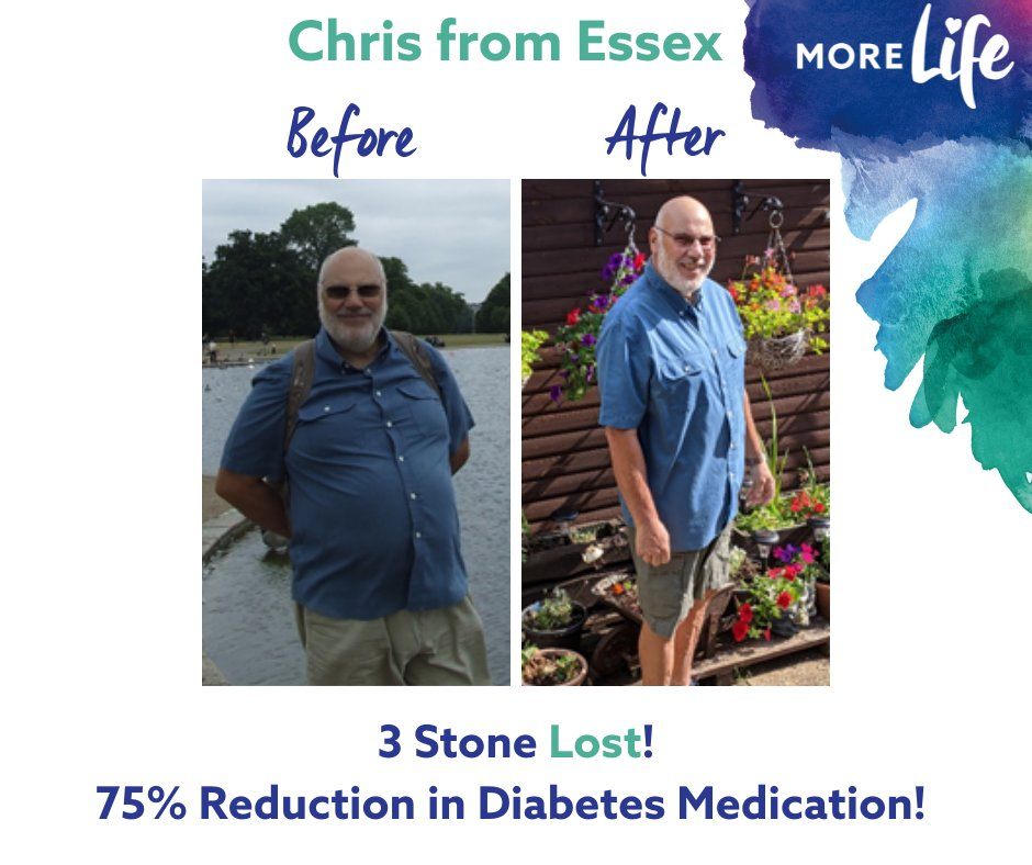 RT @MoreLifeEssex: Chris from Benfleet lost more than 3 stone, 8 inches off his waist and, astonishingly, reduced his Type 2 diabetes medic…