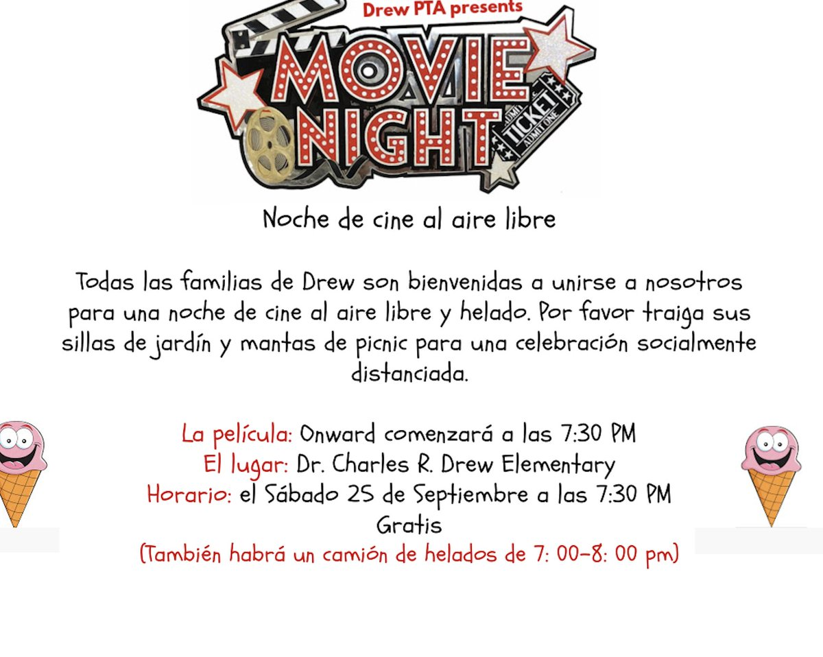 Hey Drew Community. Check out this awesome opportunity to get out and have some fun. Join the <a target='_blank' href='http://twitter.com/DrewPTA'>@DrewPTA</a> for a movie night tomorrow September 25 starting at 7:30. AND THERE IS ICE CREAM!!! See details below. <a target='_blank' href='http://twitter.com/Gaither_Tracy'>@Gaither_Tracy</a> <a target='_blank' href='http://twitter.com/CMooreAPS'>@CMooreAPS</a> <a target='_blank' href='https://t.co/ry1NYINDR7'>https://t.co/ry1NYINDR7</a>