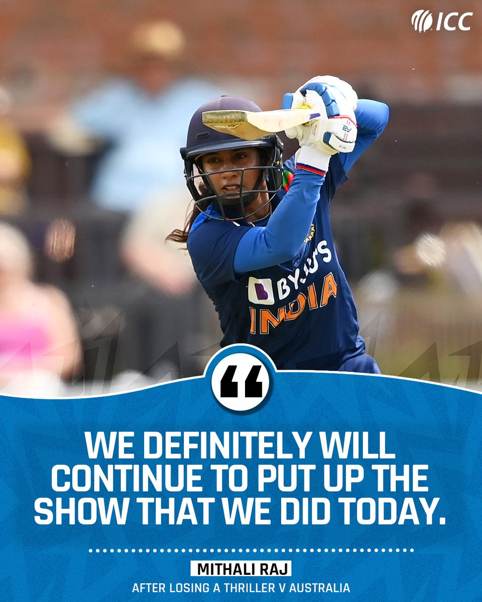 India skipper @M_Raj03 wants to take the positives from the second #AUSvIND ODI, which her side lost on the final ball.