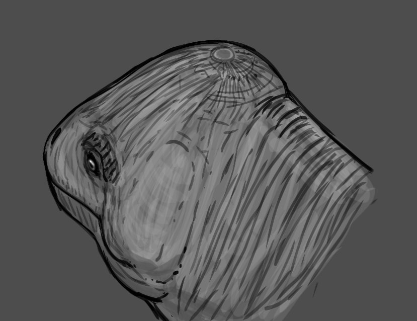 I made a quick drawing of Criocephalosaurus with its large pineal eye protuding at top of the tip