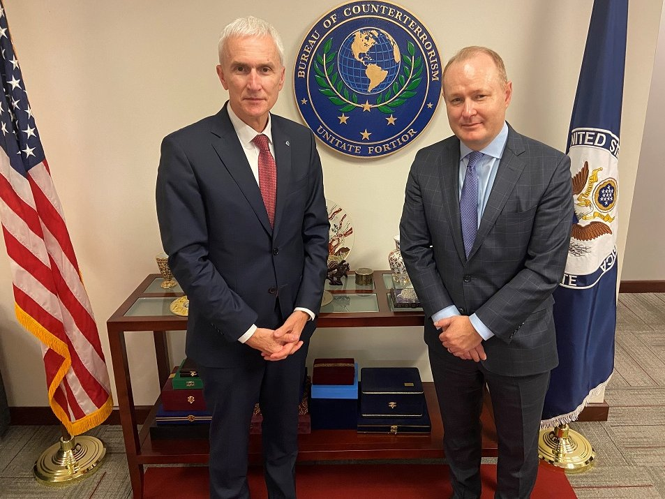 Information-sharing and cooperation to enhance border and international security are the backbone of international counterterrorism efforts. A/Coordinator John Godfrey met with @INTERPOL_SG Jürgen Stock today to discuss continued cooperation, to include on Afghanistan.