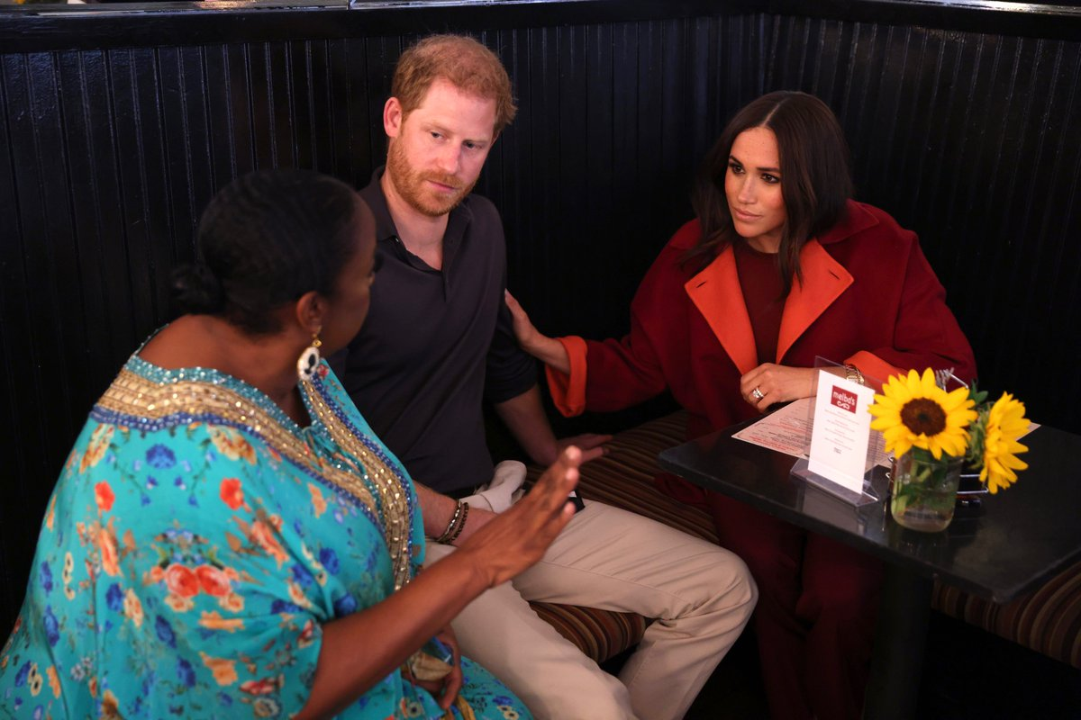 It was such an honor to welcome Prince Harry & Meghan, the Duke & Duchess of Sussex to Melba's! The team and I are so thankful for their visit and commitment to donating $25k & hope to welcome them back soon. #sweetpotatopiehugs Photo credit: Matt Sayles