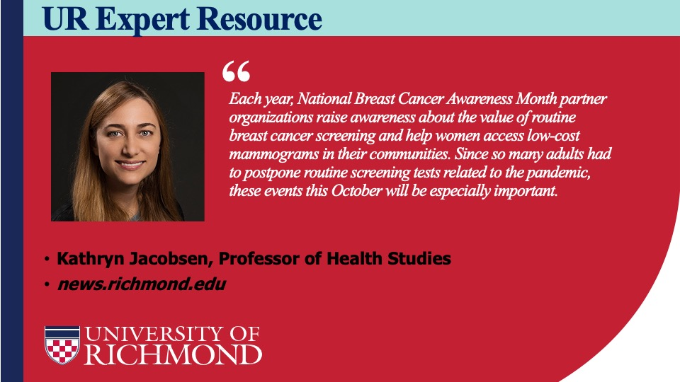 Dr. Kathryn Jacobsen, a professor of Health Studies at @urichmond, can discuss the value of health promotion initiatives like National Breast Cancer Awareness Month. #BreastCancerAwarness. https://t.co/x2Em1wXeK4