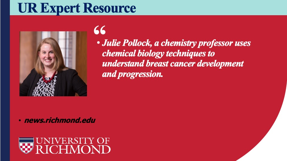 Working on a story about cancer/health research? Chemistry professor Julie Pollock (@julieapollock)  studies how proteins influence cancer growth and migration and develops drug-like molecules to combat the disease.#BreastCancerAwareness. https://t.co/WQ0N8NYqJG