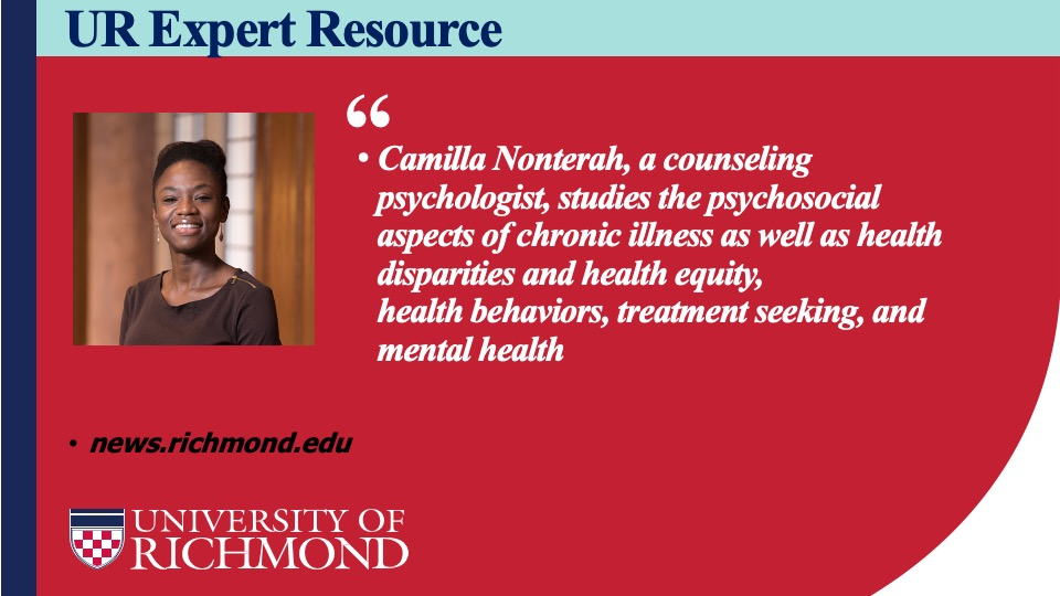 Health psychology professor Camilla Nonterah (@DrCNonterah) explores how chronic illness and health disparities can affect us psychologically in the @urichmond expert resource guide for #BreastCancerAwareness month. https://t.co/CpCZxc3AlT