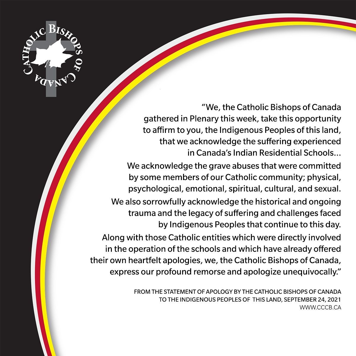The @CCCB_CECC have issued an apology for Indian Residential Schools.  #TruthAndReconciliation #ofmca #215children