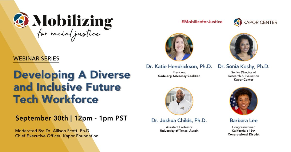 Join us this Thursday Sept 30th to discuss #ComputerScience access for all as an inclusive tech workforce policy! #mobilizeforjustice #racialjustice #techpolicy https://t.co/Naq7L4vIY7
