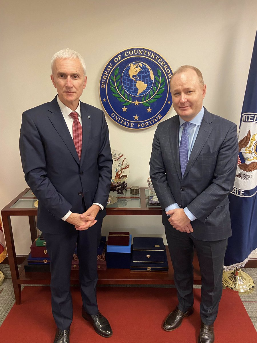 The situation in Afghanistan makes international cooperation, particularly with @coalition partners, even more relevant. Pleased to meet with @StateDeptCT A/Coordinator John Godfrey to discuss US-INTERPOL cooperation on global security issues, including border management.
