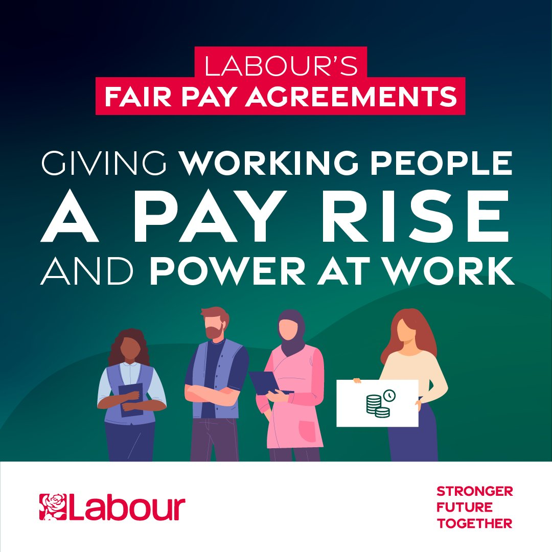 BREAKING: Labour's Fair Pay Agreements would give working people a pay rise and boost our economy. Labour would bring together representatives from workers and employers to agree minimum pay and conditions in their industry. Good for working people. Good for business. #Lab21