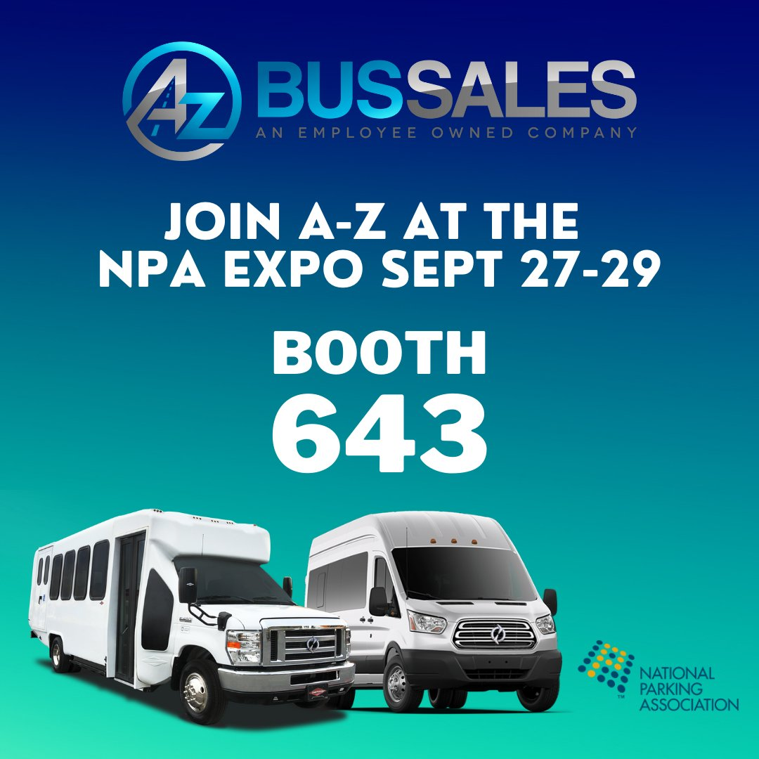 Find @A_ZBusSales next week at the NPA Convention & Expo in Las Vegas! Stop by our booth to check out @LightningeMtrs #electric E-450 Shuttle Bus and E-350 Transit Passenger Van. #NPAExpo