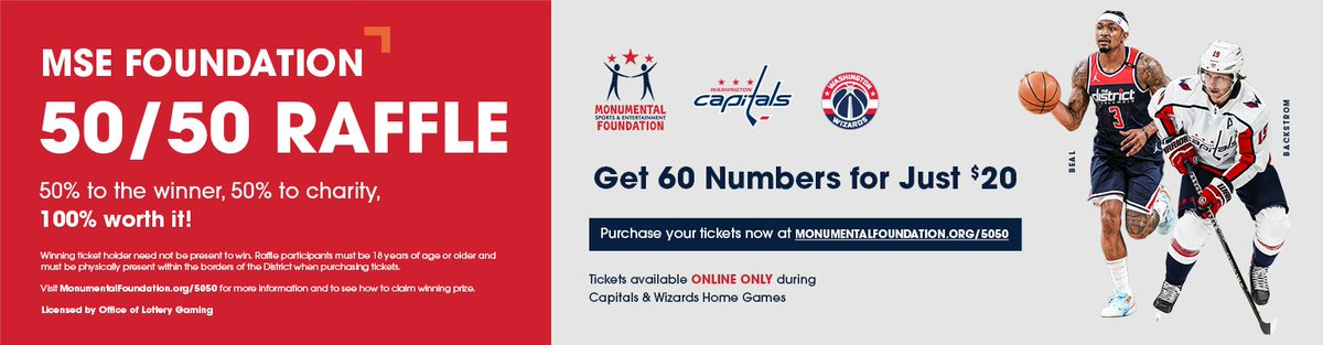 MSE Foundation will host the popular 50/50 raffle for all home games during the 2021-22 seasons for the @Capitals and @WashWizards using a new online platform.  More information here: https://t.co/ezFcHfPEcT