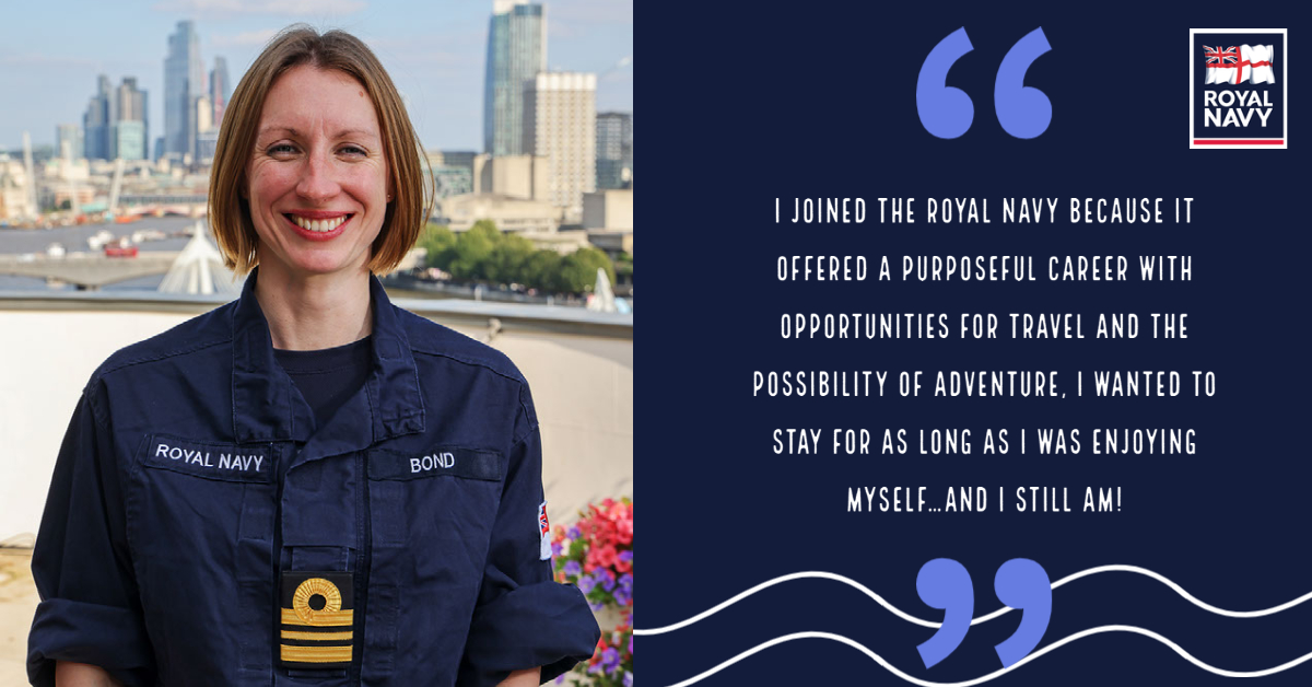 Meet the real-life Lt Cdr Bond! Lieutenant Commander Frances Bond, who serves at the Royal Navy's HQ in Portsmouth, was invited to meet Daniel Craig ahead of the launch of the new film. She shared with us some of the highlights from her career: ow.ly/J5dc50Ggd23