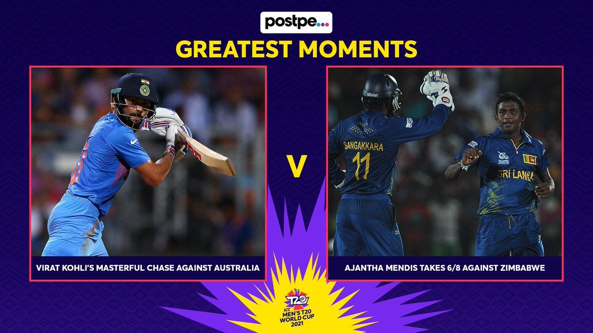 Match-up 12 of the @postpeapp Greatest Moments:  🔹 Virat Kohli's masterful chase against Australia, #T20WorldCup 2016 🆚 🔹Ajantha Mendis takes 6/8 against Zimbabwe, #T20WorldCup 2012  Cast your vote 🗳️ https://t.co/Ub8etj0Czj https://t.co/OM79O0RVh6