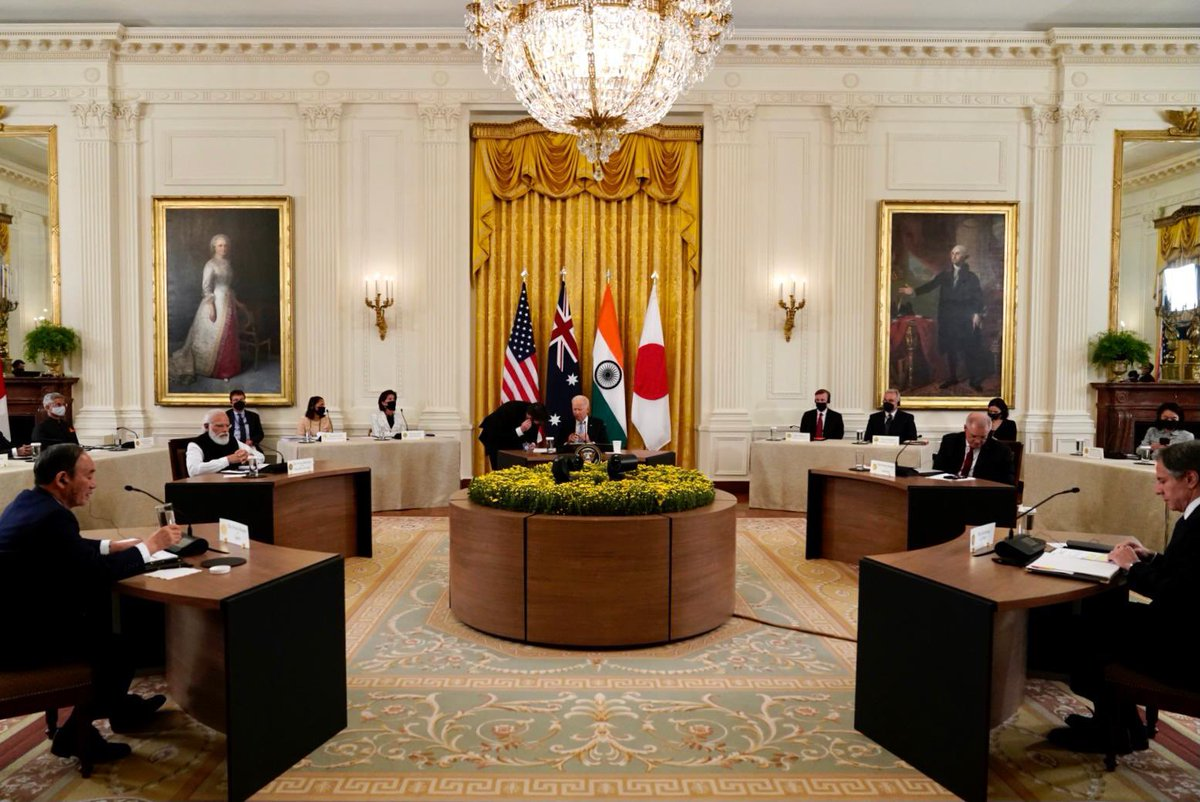 Here are glimpses from the Quad leaders meeting. The discussions with @POTUS @JoeBiden, PM @ScottMorrisonMP and PM @sugawitter were extensive and productive.