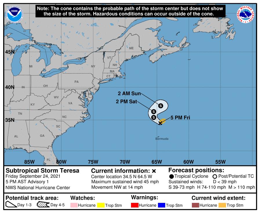 La tempête subtropicale #Teresa s'est formée dans l'Atlantique ce soir, 19ème système nommé cette saison.