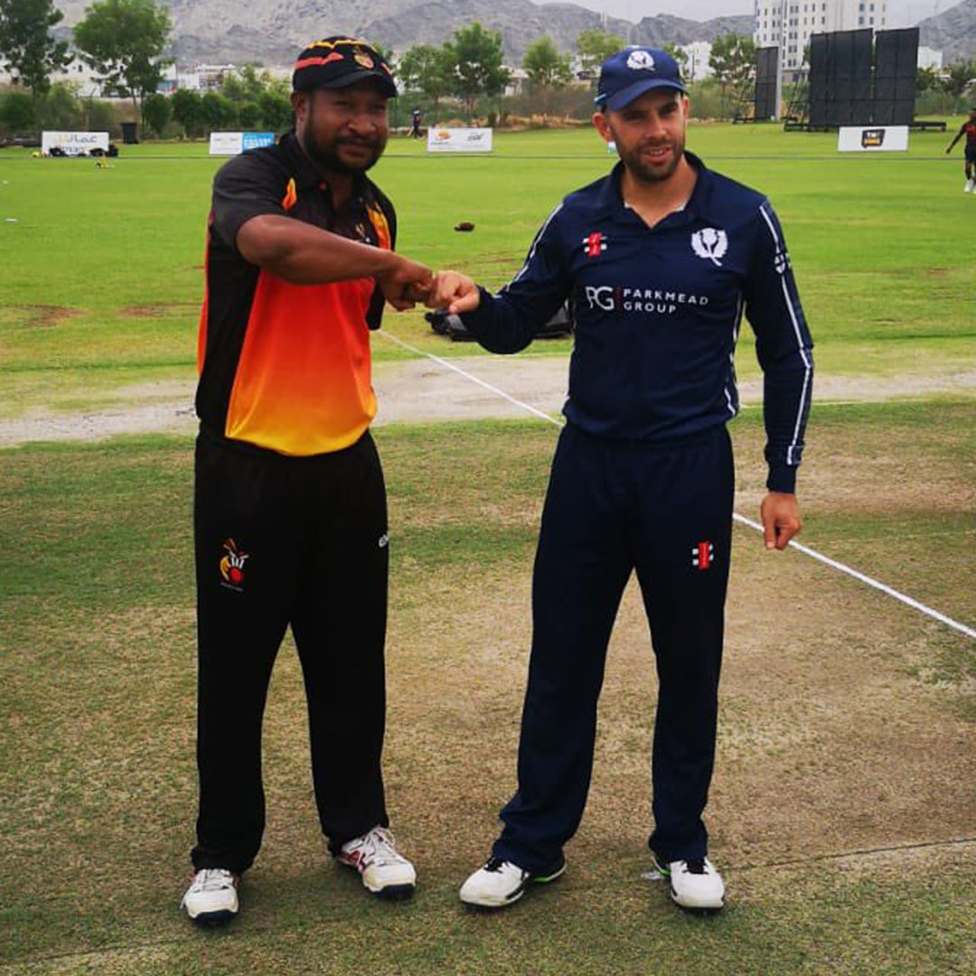 Scotland have won the toss and elected to bowl in their match against Papua New Guinea at the Oman Cricket Academy Ground 🏏  Catch all the @cricketworldcup League 2 action on https://t.co/CPDKNxoJ9v and @FanCode (in the subcontinent) 📺  📸 @CricketScotland https://t.co/YPskSQcvJR
