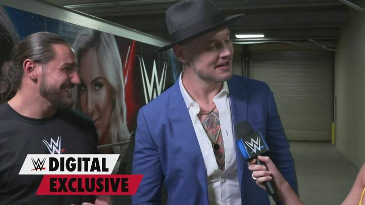 As he leaves the building, Happy @BaronCorbinWWE answers inquiries about the man with him by explaining that he is someone who makes him laugh. #SmackDown https://t.co/3GWrng6HmK
