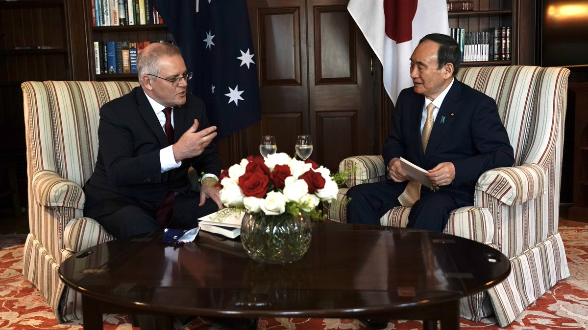 Great to meet my good friend Japanese PM @sugawitter prior to the Quad Leaders' Meeting. An excellent discussion on further strengthening ties, doing more with our ASEAN friends, and practical outcomes for a free and open Indo-Pacific.