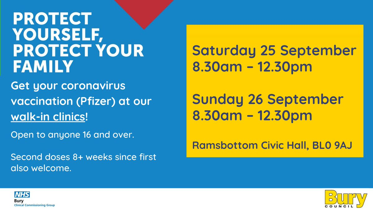 ‼️Walk in 1st & 2nd Pfizer clinic TODAY & tomorrow (25,26 Sept)‼️ TODAY: 8.30am - 12.30pm Ramsbottom Civic Hall, BL0 9AJ For anyone 16+ 👍 2nd doses welcome if 1st dose was 8+ weeks ago✌️  @NHSBuryCCG https://t.co/bmgD2gFIMn