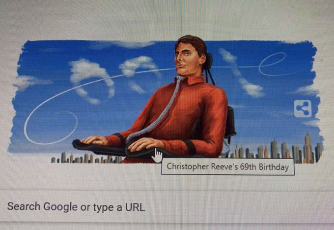 Google making me cry this morning. Happy Birthday to my hero Christopher Reeve
