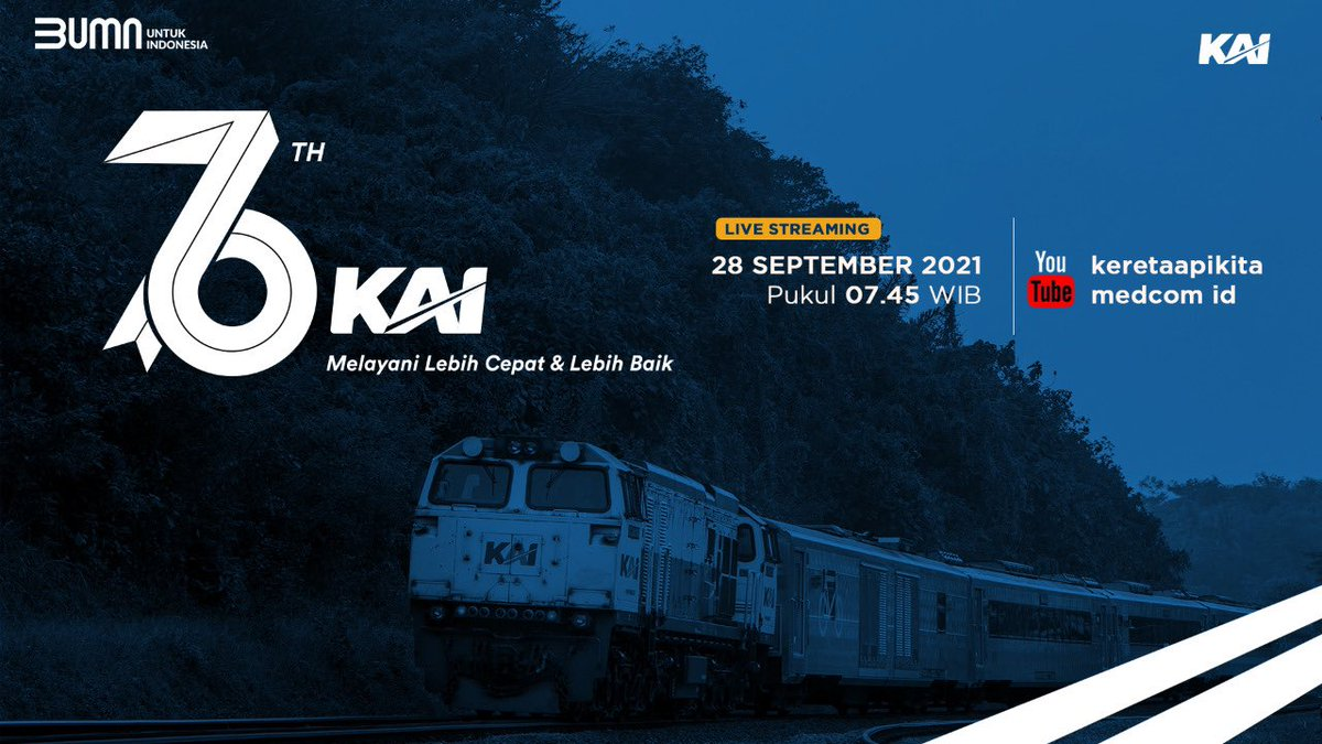 Selama 76 tahun, KAI berupaya memberikan pelayanan jasa transportasi kereta api terbaik. Cepat tanggap dlm situasi & kondisi apapun. Bergerak maju mendukung bangsa Indonesia lebih tangguh & terus tumbuh. Melayani lebih cepat & lebih baik #HUT76KAI #MTVNAD  @KAI121 @keretaapikita https://t.co/9MzCngJqUl