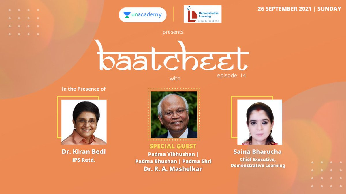 In a heart to heart conversation with one and only Kiran Bedi  & also  dynamic Saina Ruzbeh Bharucha  Episode 14 of Baatcheet on 26 September 5 PM  https://t.co/U1OsWOkITy  https://t.co/sxwEd97pp8 https://t.co/YRfTqXTiio