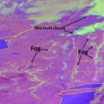 Image for the Tweet beginning: GOES-16 Nighttime Microphysics-RGB to distinguish