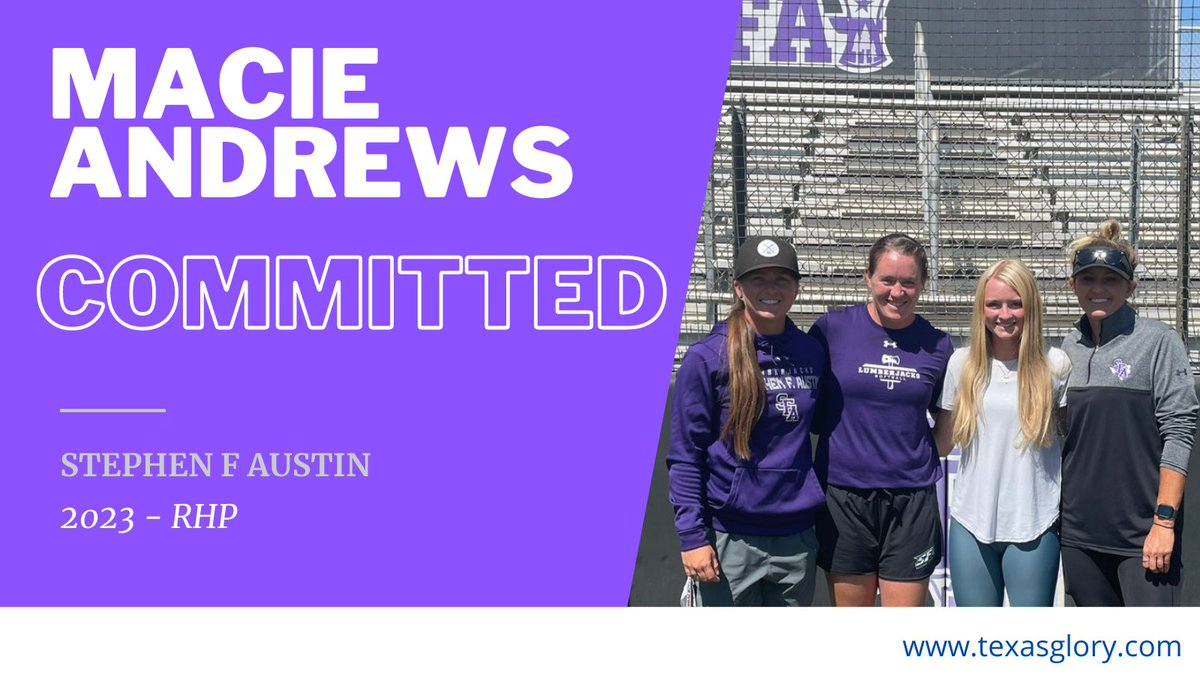 Macie Andrews commits to Stephen F. Austin. Macie is a pitcher on our Texas Glory squad and is a junior at Chisholm High School.  @TexasGlory @sfa_softball @NCAASoftball @WACsports @chsladyhorns #fastpitch #softball #fastpitchsoftball #collegesoftball #ncaasoftball https://t.co/yTjqsfnUZF
