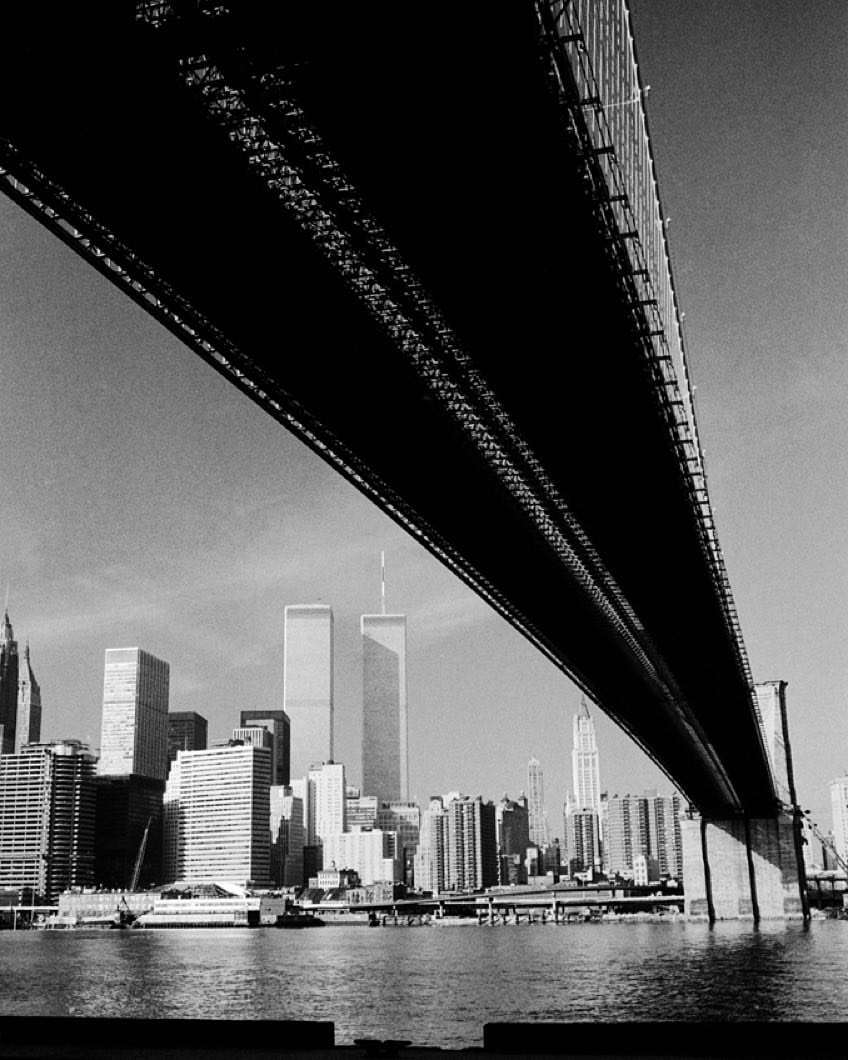 Alfred Eisenstaedt. Lower Manhattan and the Twin Towers of the World Trade Center, photographed from Brooklyn, 1983.
