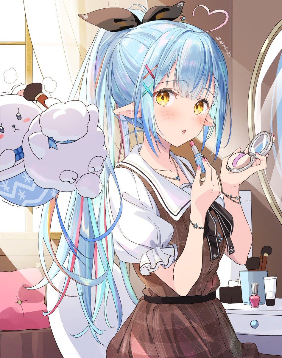 RT @akmkmk3: メッシュ&ポニテな新髪型すっきりしてて👍👍 #LamyArt #雪花ラミィ #ねぽらぼ一周年...