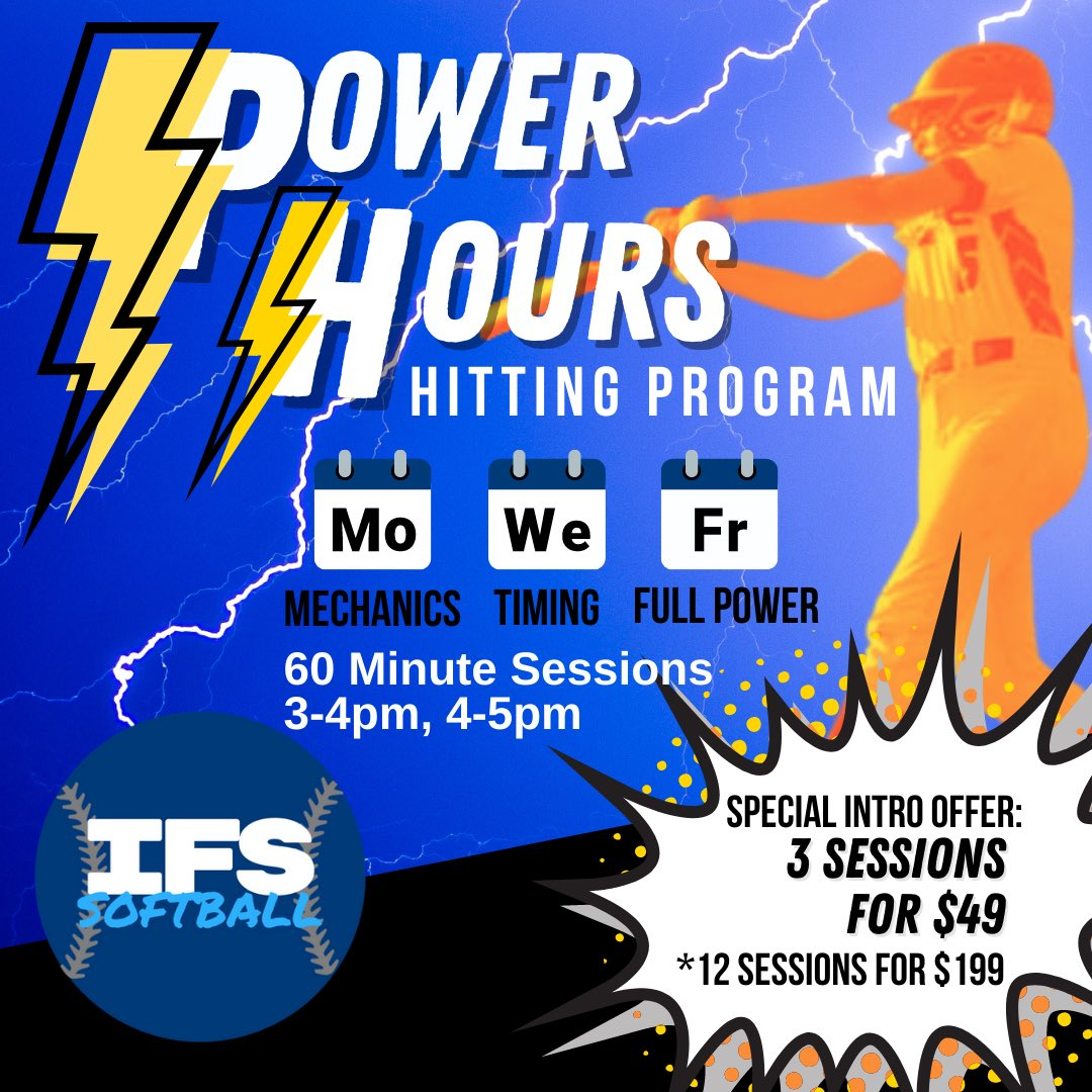We're SO excited to offer Power Hours! Purchase a package, choose when you come in, and take your hitting to the next level! Mondays are mechanics, Wednesdays are timing, and Fridays are full strength & power. Our intro offer and get 3 sessions for only $49! #teamIFS #softball https://t.co/OzuBMuifH2
