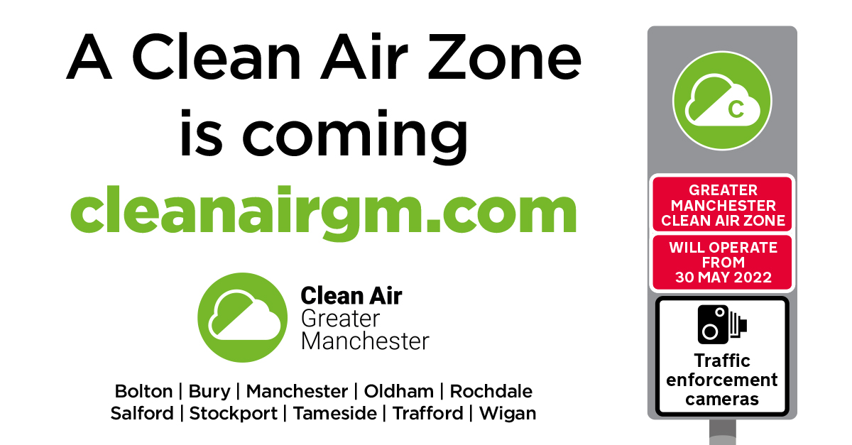 🎦 You may see GM Clean Air Zone road signs & cameras popping up in your area over the next few months.  GM is getting ready for the launch of the Clean Air Zone on 30 May 2022.⛅  The Zone will reduce air pollution from traffic.  More info👉 https://t.co/AO9KmN6hn8 #CleanAirGM https://t.co/LycvzkQMoL