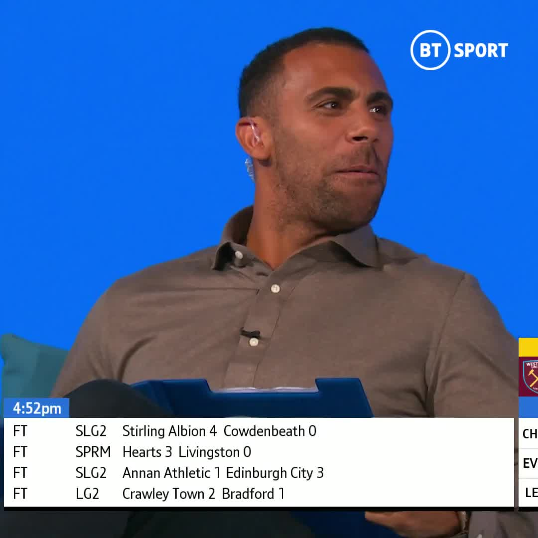We're used to @rioferdy5's brilliant reactions to goals...  But Anton Ferdinand loves the game just as much!  His reaction to West Ham's 90th-minute winner on his #BTSportScore debut is so good 😂 https://t.co/dKUbLNeJyn