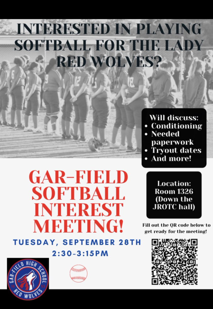Interest meeting this coming Tuesday the 28th after school in coach's classroom. See you all by 2:30p! Please scan the QR code or check out recent tweets to fill out the attached form prior to the meeting 🥎 #Softball #SpringSeasonPrep #Wolfpack @G_FHSAthletics ❤️💙🐺 https://t.co/Db64WKU6P7