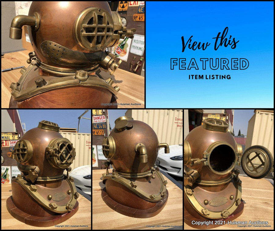 """📣Featured Item! Lot # 117: BRASS DIVERS HELMET ON WOOD DISPLAY BASE. MARKED """"US NAVY DIVING HELMET MARK V, MORSE 8-29-41. 👉Find it here https://t.co/FR29XeSbh2  #navy  #usnavy  #navydiver #brass #collectible #diver #diving   #dive #antique #vintage https://t.co/k1AIegRpcM"""