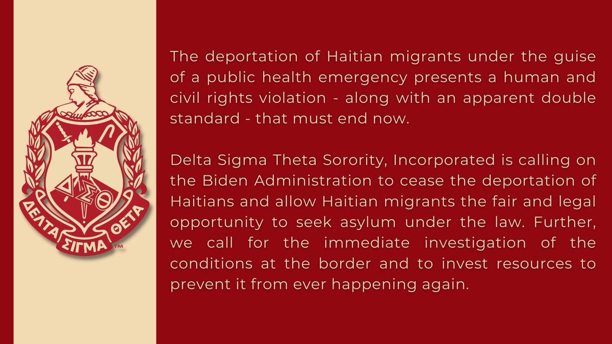 The deportation of Haitian migrants under the guise of a public health emergency presents a human and civil rights violation- along with an apparent double standard- that must end now.    #DST1913 #PowerInOurVoice https://t.co/PBBAmmL5DL