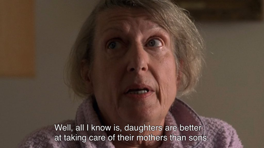 Livia Soprano is saying daughters are better at taking care of their mothers than sons.