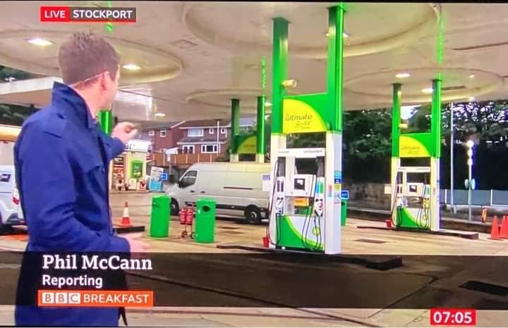 'Phill McCan' reporting on fuel panic-buying. BBC #trolls!