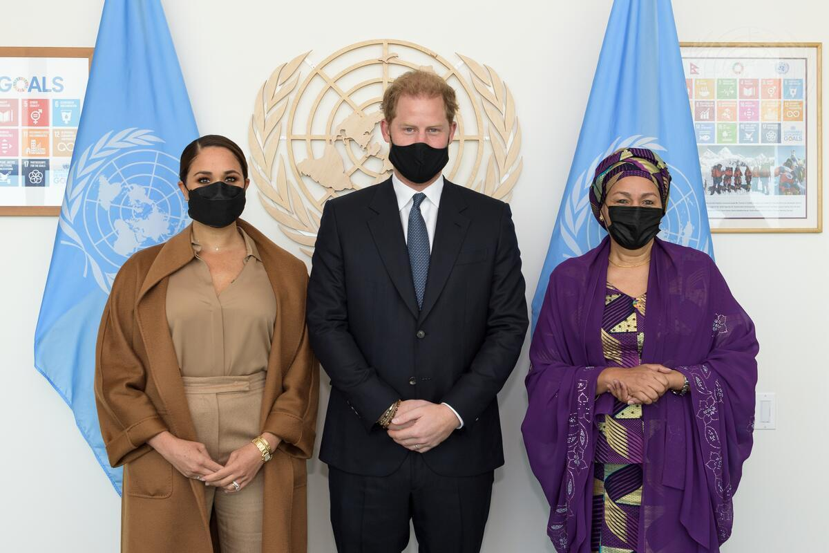 UN: RT @AminaJMohammed: In conversation with the Duke and Duchess of Sussex — sharing how to engage on issues we care about deeply: climate action, women's economic empowerment, mental well-being, youth engagement and vaccine equity.