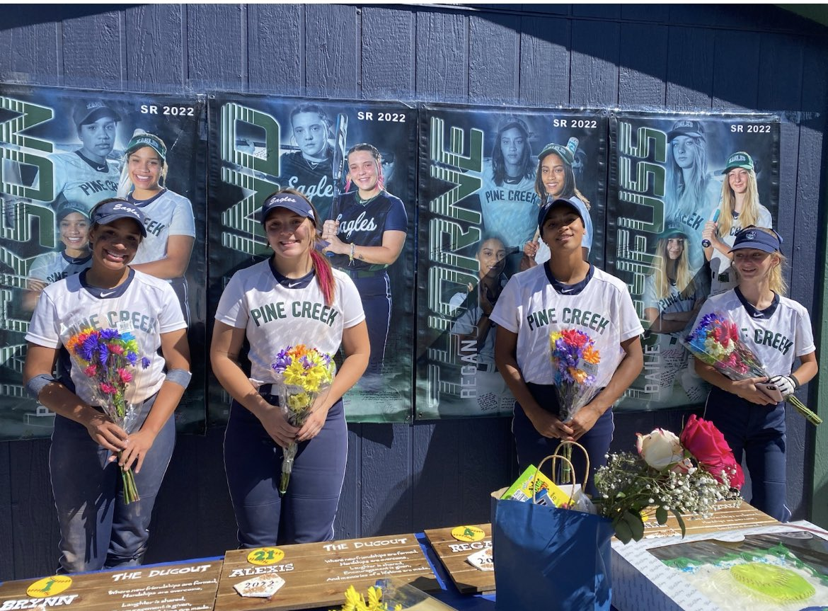 @PineCreekHS Softball earns the W on senior day! Special shout out to these 4 for all they have done for the program and our school. #softball #WarEagle #girlsrule @CHSAA @gazettepreps @NewsPikesPeak https://t.co/ewXCDWdnWQ