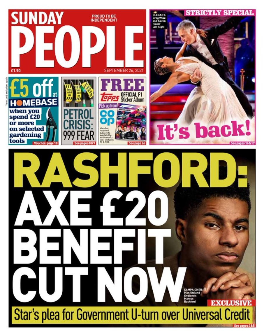 Well said @MarcusRashford   The Tories found £37 billion to linethe pockets of their mates with dodgy PPE contracts, but can't find £20 per Universal Credit recipient?  WTF?   And on top of that we have the Tory #BrexitTax, #ToryBrexit energy price rises & #ToryBrexit inflation