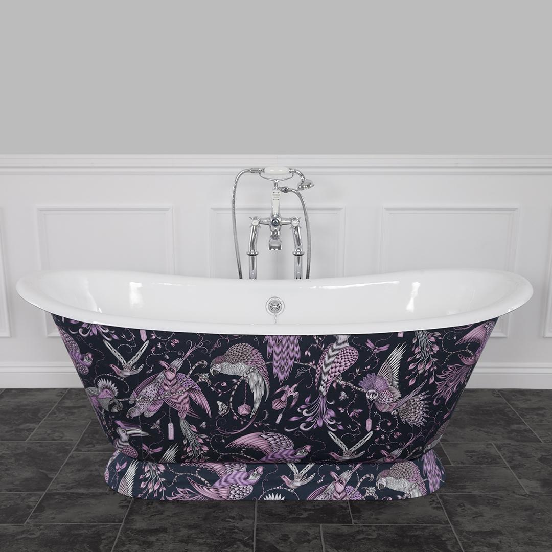 We are pleased to showcase The Galleon Cast Iron Bath, clad in Audobon Pink Fabric For more information: hurlinghambaths.co.uk/baths/cast-iro… #baths#castironbaths#bathroom#interiordesign#homerenovation#homeimprovement #hurlinghambathrooms #expert