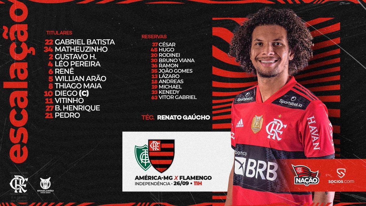 Flamengo também tá escalado. Time misto, mas ainda muito forte dos cariocas.   #HortoENM #afctt