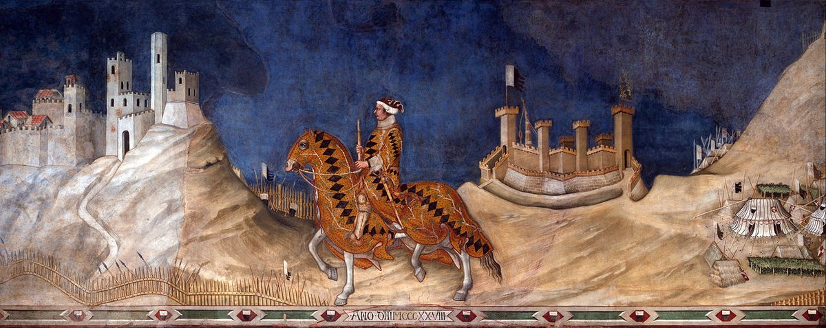 2/2 On another wall of this fab room, Guidoriccio da Fogliano passes jauntily by during the seige of Montemassi. Painted in 1328 by Simone Martini.