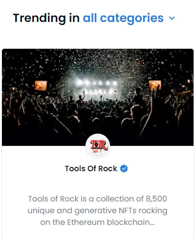 The Weekend of Rock doesn't ever disappoint!  We are now trending on OpenSea!  Time to grab your VIP Pass or fight the groupies for rush seating.. this is the Tools of Rock Metaverse Tour! #weekendofrock #ToolsofRock #GodsofRock