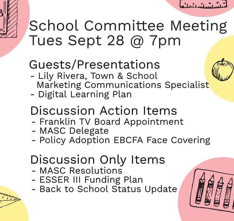 Denise Spencer: School Committee meeting reminder - 9/28/21 - 7 PM