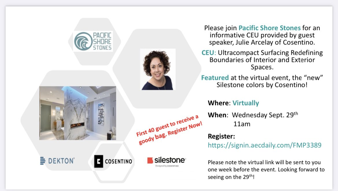 Join us sept 29 in partnership with @CosentinoUSA for a virtual CEU opportunity featuring new colors by @Silestone  #pacificshorestones #networking #interiordesign #architecturedesign #kitchenandbath #silestone #cosentino